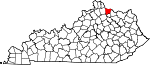 Map of Kentucky showing Bracken County