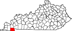 Map of Kentucky showing Calloway County