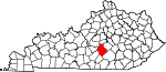 Map of Kentucky showing Casey County