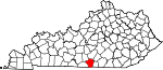 Map of Kentucky showing Cumberland County