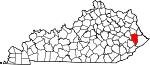 Map of Kentucky showing Floyd County