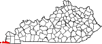 Map of Kentucky showing Fulton County