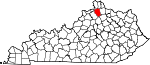 Map of Kentucky showing Grant County