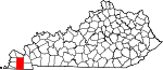 Map of Kentucky showing Graves County