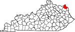 Map of Kentucky showing Greenup County