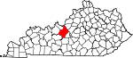 Map of Kentucky showing Hardin County