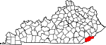 Map of Kentucky showing Harlan County