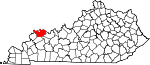 Map of Kentucky showing Henderson County
