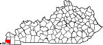 Map of Kentucky showing Hickman County