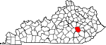 Map of Kentucky showing Jackson County