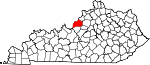 Map of Kentucky showing Jefferson County