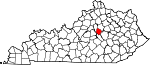 Map of Kentucky showing Jessamine County
