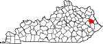 Map of Kentucky showing Johnson County