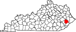 Map of Kentucky showing Knott County