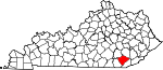 Map of Kentucky showing Knox County