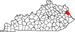 Map of Kentucky showing Lawrence County