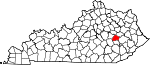 Map of Kentucky showing Lee County
