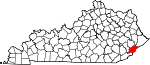 Map of Kentucky showing Letcher County