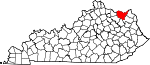 Map of Kentucky showing Lewis County