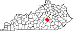 Map of Kentucky showing Lincoln County