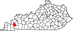 Map of Kentucky showing Lyon County