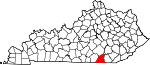 Map of Kentucky showing McCreary County