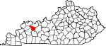 Map of Kentucky showing McLean County