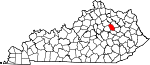 Map of Kentucky showing Montgomery County