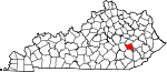 Map of Kentucky showing Owsley County