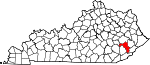 Map of Kentucky showing Perry County