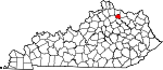 Map of Kentucky showing Robertson County