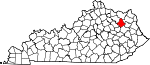 Map of Kentucky showing Rowan County