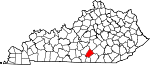 Map of Kentucky showing Russell County