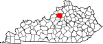Map of Kentucky showing Shelby County