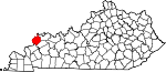 Map of Kentucky showing Union County