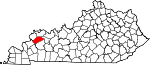 Map of Kentucky showing Webster County