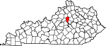 Map of Kentucky showing Woodford County