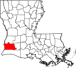 Map of Louisiana showing Calcasieu Parish