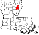 Map of Louisiana showing Franklin Parish