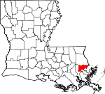 Map of Louisiana showing Orleans Parish