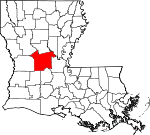 Map of Louisiana showing Rapides Parish