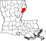 Map of Louisiana showing Tensas Parish