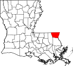 Map of Louisiana showing Washington Parish