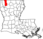 Map of Louisiana showing Webster Parish