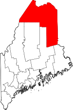 Map of Maine showing Aroostook County