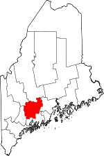 Map of Maine showing Kennebec County