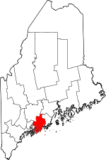 Map of Maine showing Lincoln County