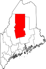 Map of Maine showing Piscataquis County