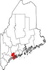 Map of Maine showing Sagadahoc County