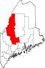 Map of Maine showing Somerset County